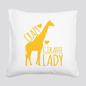 Crazy Giraffe Lady Square Canvas Pillow