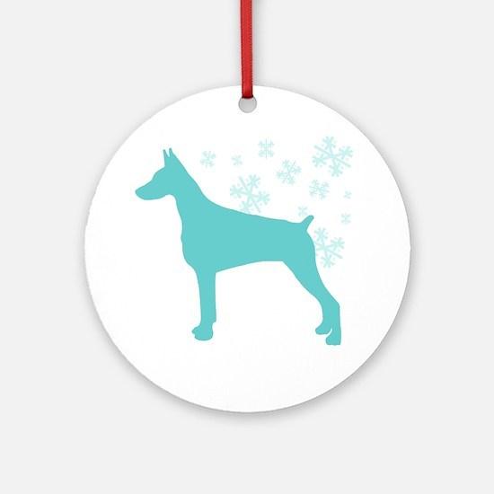 Doberman Pinscher Snowflake Ornament (Round)