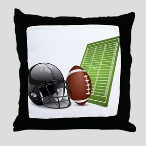 American football ball and helmet Throw Pillow