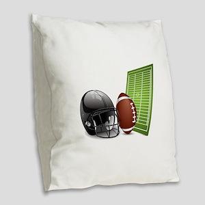 American football ball and hel Burlap Throw Pillow