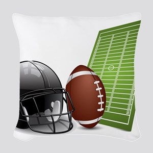 American football ball and hel Woven Throw Pillow
