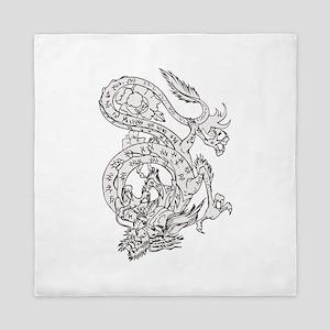 Dragon tattoo design Queen Duvet