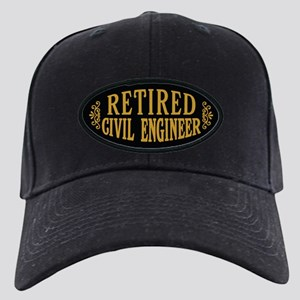Retired Civil Engineer Black Cap with Patch
