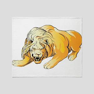 Ferocious lion art Throw Blanket