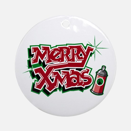 Merry Christmas Graffiti Ornament (Round)