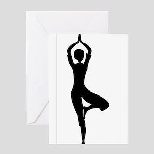 Tree Asana Silhouette Greeting Cards