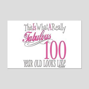 100th Birthday Gift Mini Poster Print