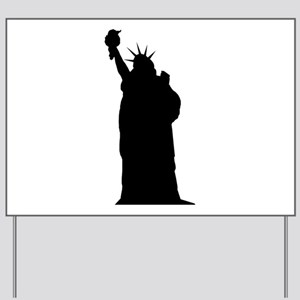 Statue of liberty silhouette Yard Sign