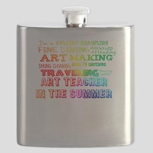 Art Teacher in the Summer Rainbow Colorful Flask