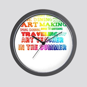 Art Teacher in the Summer Rainbow Color Wall Clock