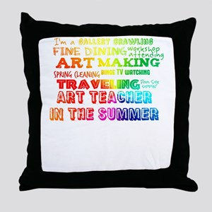Art Teacher in the Summer Rainbow Col Throw Pillow