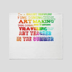 Art Teacher in the Summer Rainbow Co Throw Blanket