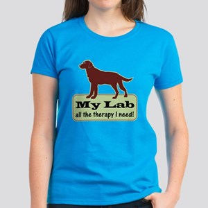 Chocolate Lab Therapy - Women's Dark T-Shirt