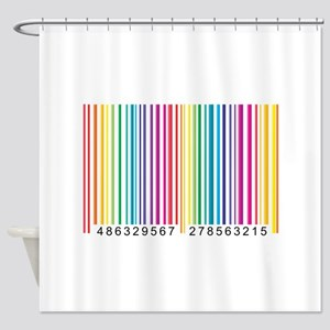 Colorful barcode graphic Shower Curtain