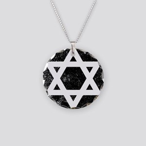 Star of David Half Tone Necklace Circle Charm