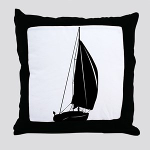Sailboat silhouette art Throw Pillow