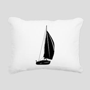 Sailboat silhouette art Rectangular Canvas Pillow