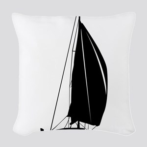 Sailboat silhouette art Woven Throw Pillow