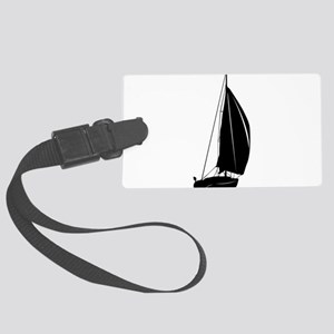 Sailboat silhouette art Large Luggage Tag