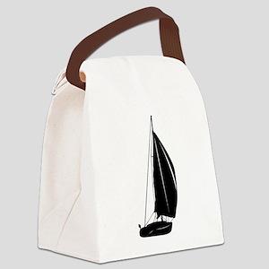 Sailboat silhouette art Canvas Lunch Bag
