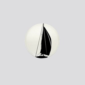 Sailboat silhouette art Mini Button