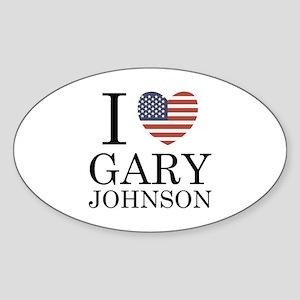 I Love Gary Johnson Sticker (Oval)