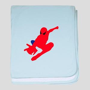 Spiderman pose art baby blanket