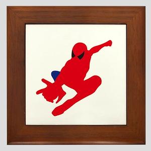 Spiderman pose art Framed Tile