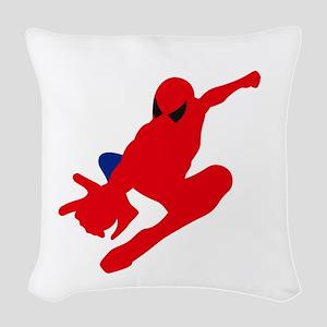 Spiderman pose art Woven Throw Pillow