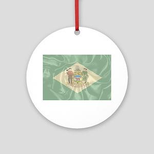Silk Flag of Delaware Round Ornament