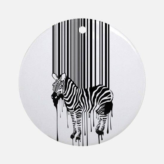 Barcode zebra background Round Ornament