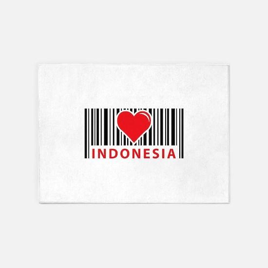 Love Indonesia barcode 5'x7'Area Rug