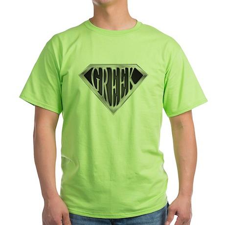 SuperGreek(metal) Green T-Shirt