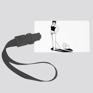 Tall girl and bunny Large Luggage Tag