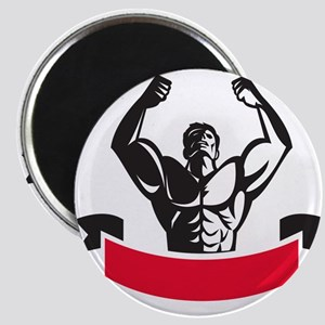 Body Builder Flexing Muscles Banner Retro Magnets