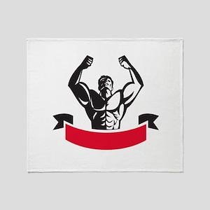 Body Builder Flexing Muscles Banner Retro Throw Bl