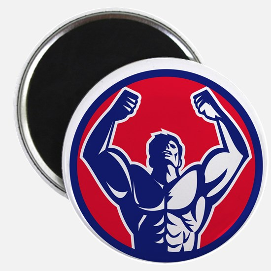 Body Builder Flexing Muscles Circle Retro Magnets
