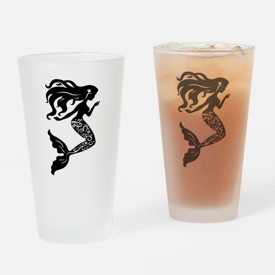 Mermaid silhouette design Drinking Glass