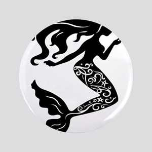 Mermaid silhouette design Button