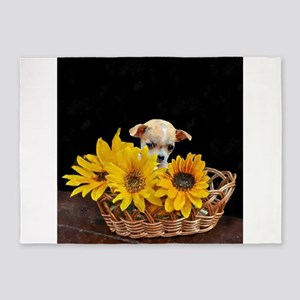 Chihuahua in sunflowers 5'x7'Area Rug