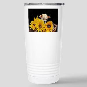 Chihuahua in sunflowers Stainless Steel Travel Mug
