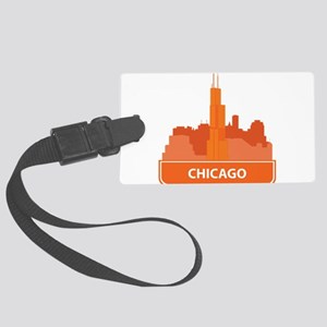 National landmark Chicago silhou Large Luggage Tag