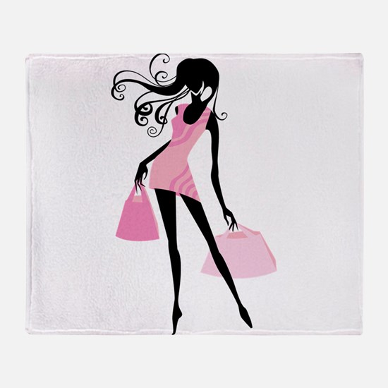 Fashion girl with handbag Throw Blanket