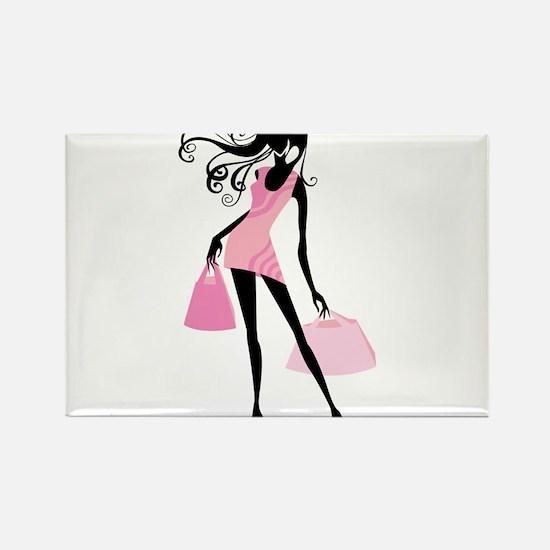 Fashion girl with handbag Magnets