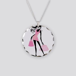Fashion girl with handbag Necklace Circle Charm