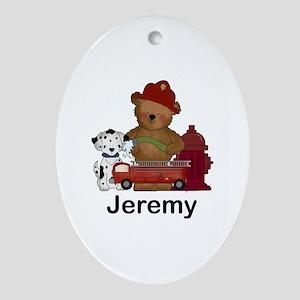 Jeremy's Fire Bear Oval Ornament