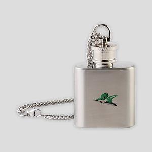 Green alien with head phones Flask Necklace