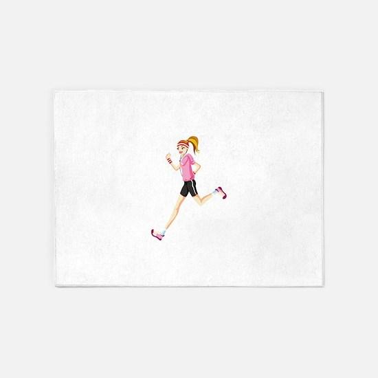 Running sport girl 5'x7'Area Rug
