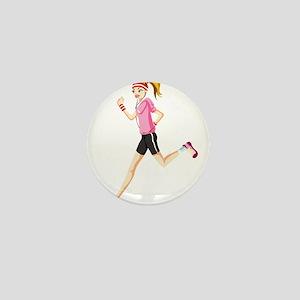 Running sport girl Mini Button
