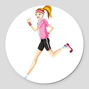 Running sport girl Round Car Magnet